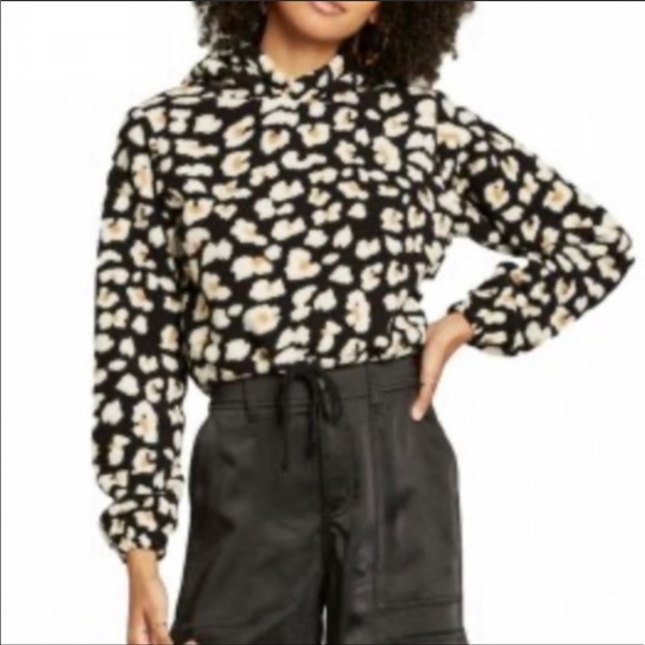 Wild Fable Leopard Cropped Sherpa Hoodie